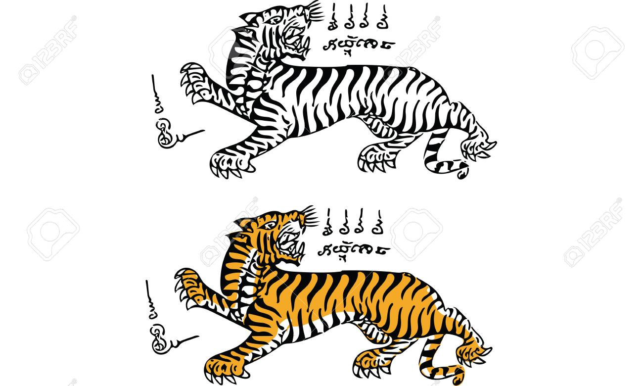 679c18d30 Tiger Tattoo, Thai Traditional Painting Royalty Free Cliparts ...