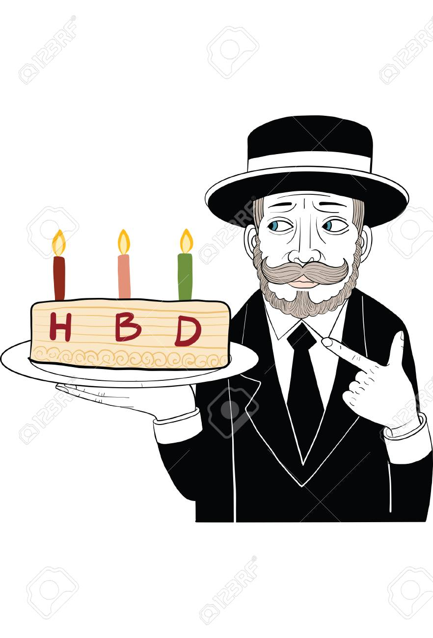 Mustache Man In Black Suit Holding Birthday Cake Royalty Free