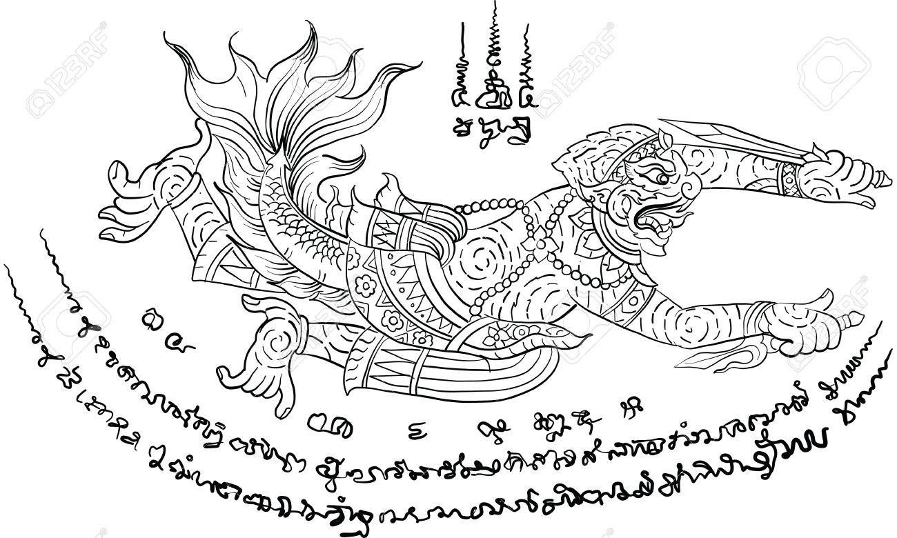 Thai Traditional Painting Tattoo Stock Vector