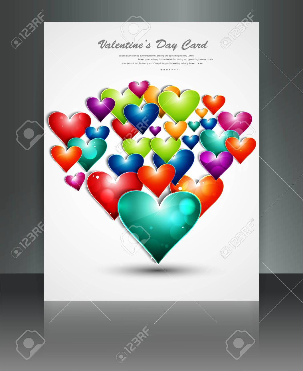 Valentine Days rainbow colorful hearts brochure vector Stock Vector - 17548679