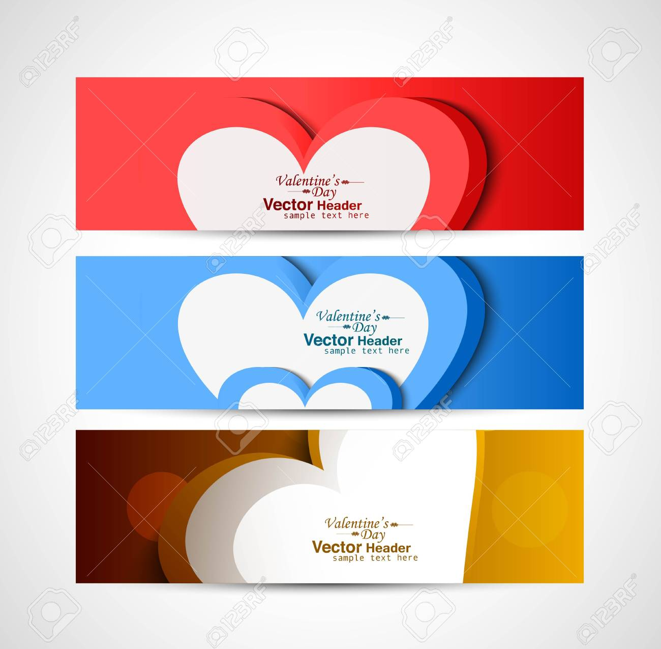 Three colorful heart Valentine's Day header set vector background Stock Vector - 17679556