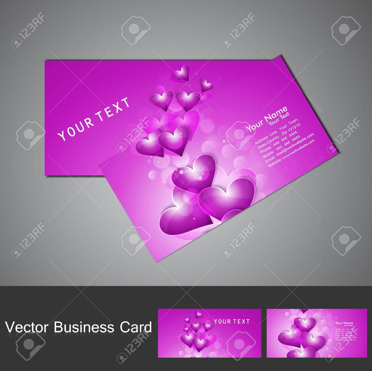 Valentine\'s Day Colorful Heart Stylish Business Card Set Design ...
