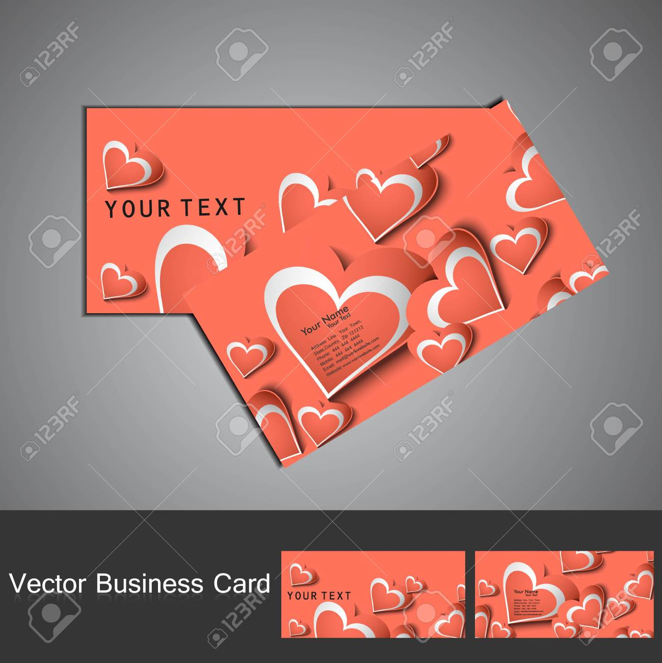 Fantastic Valentine's Day colorful heart business card set Stock Vector - 17679620