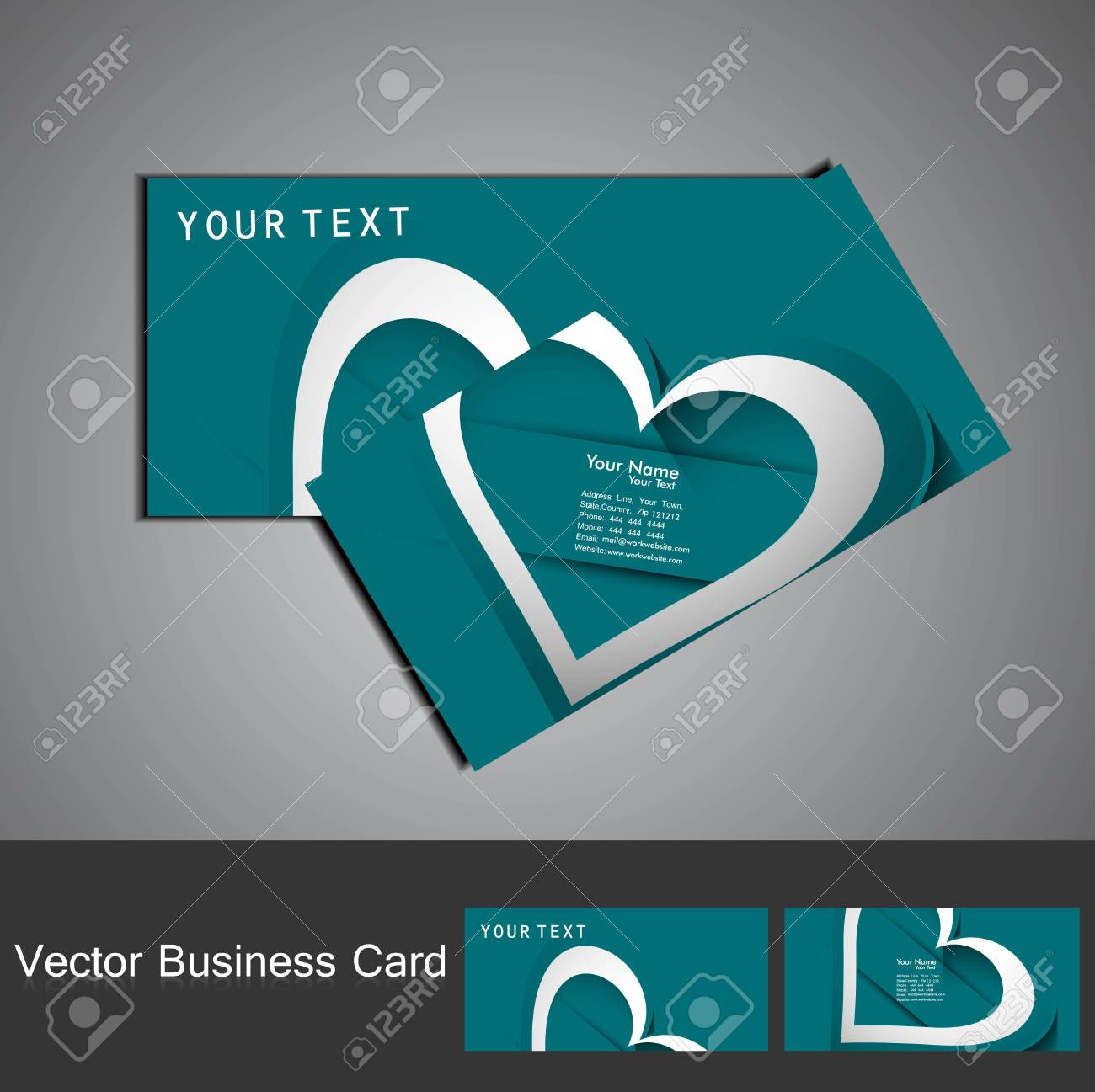 Shiny colorful Valentine's Day heart business card set design vector Stock Vector - 17679627
