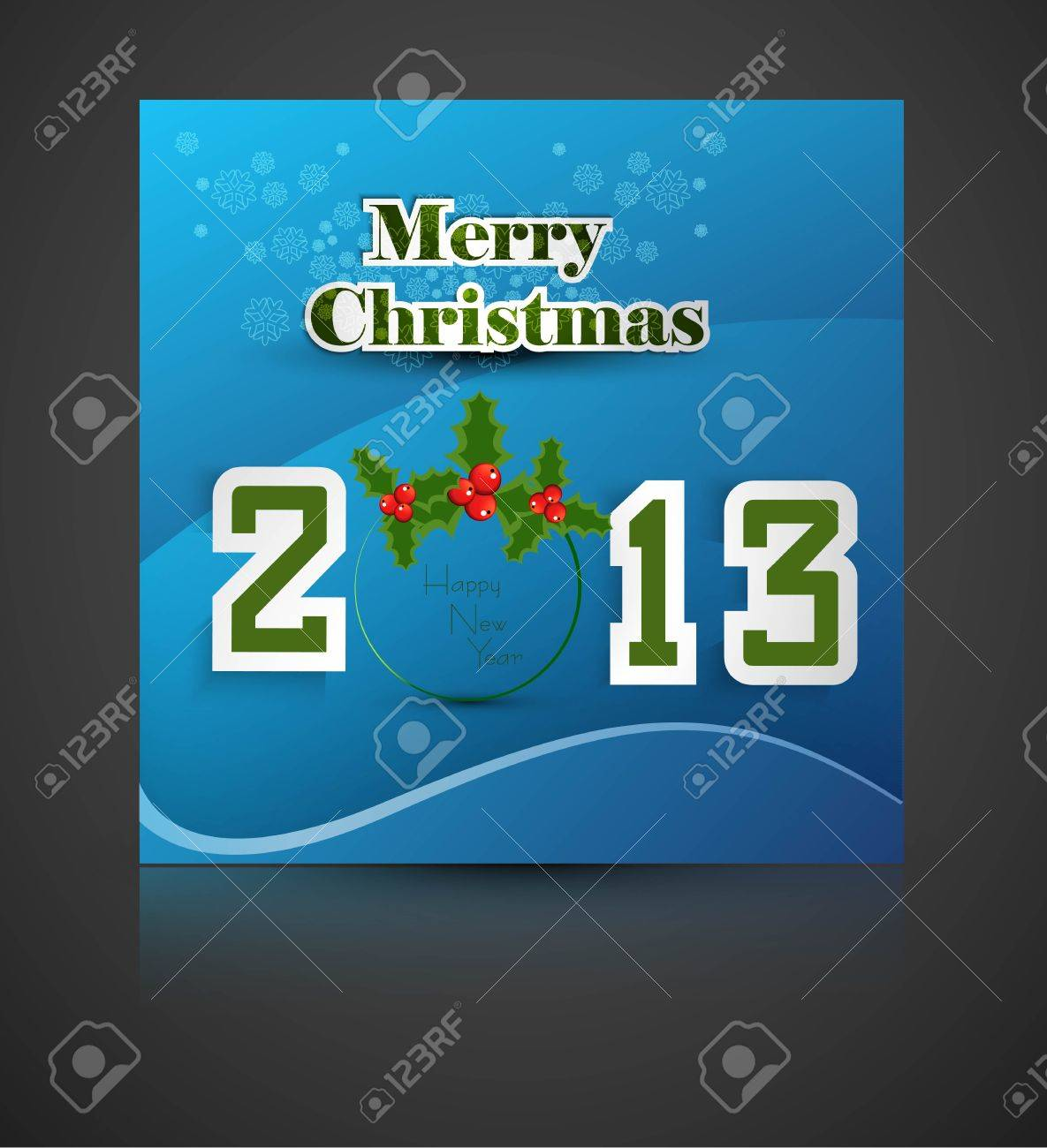 New year stylish 2013 merry christmas font blue colorful card Stock Vector - 17789860