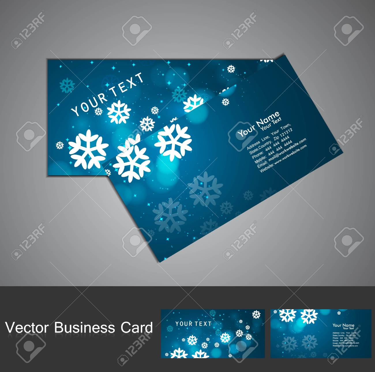 Merry Christmas Business Card Set Blue Colorful Illustration Royalty ...