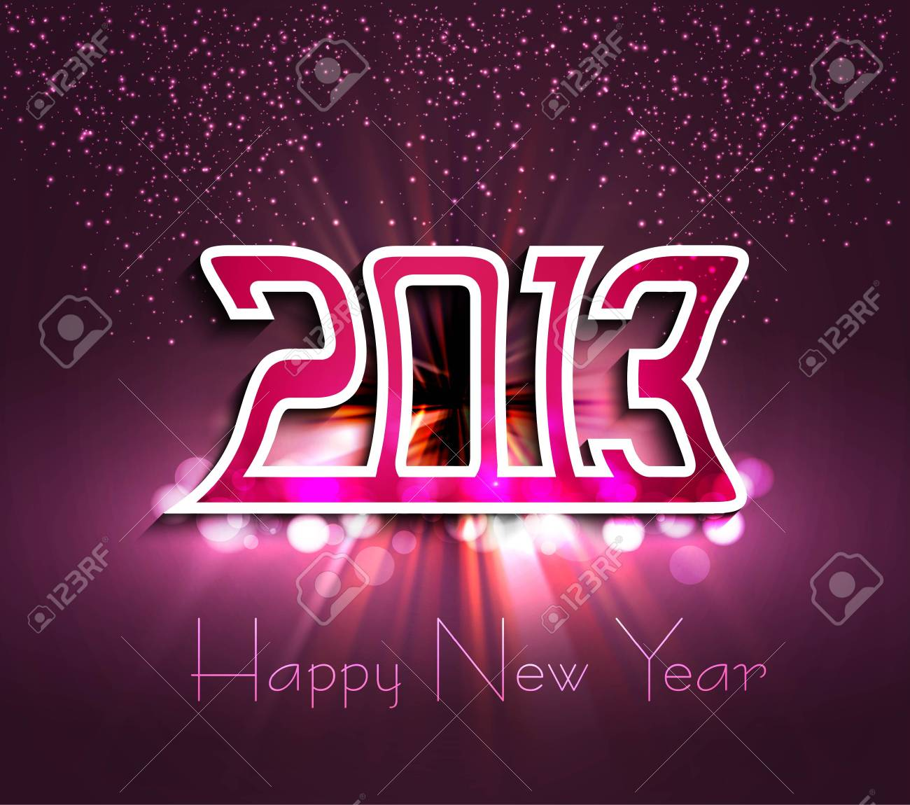 New 2013 year bright colorful greeting card vector Stock Vector - 17945717
