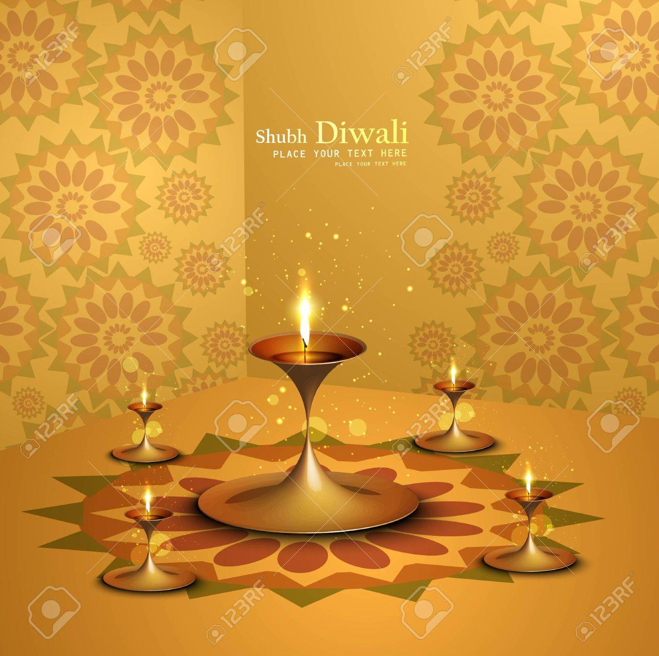 Happy diwali beautiful illuminating Diya background Stock Vector - 17946047
