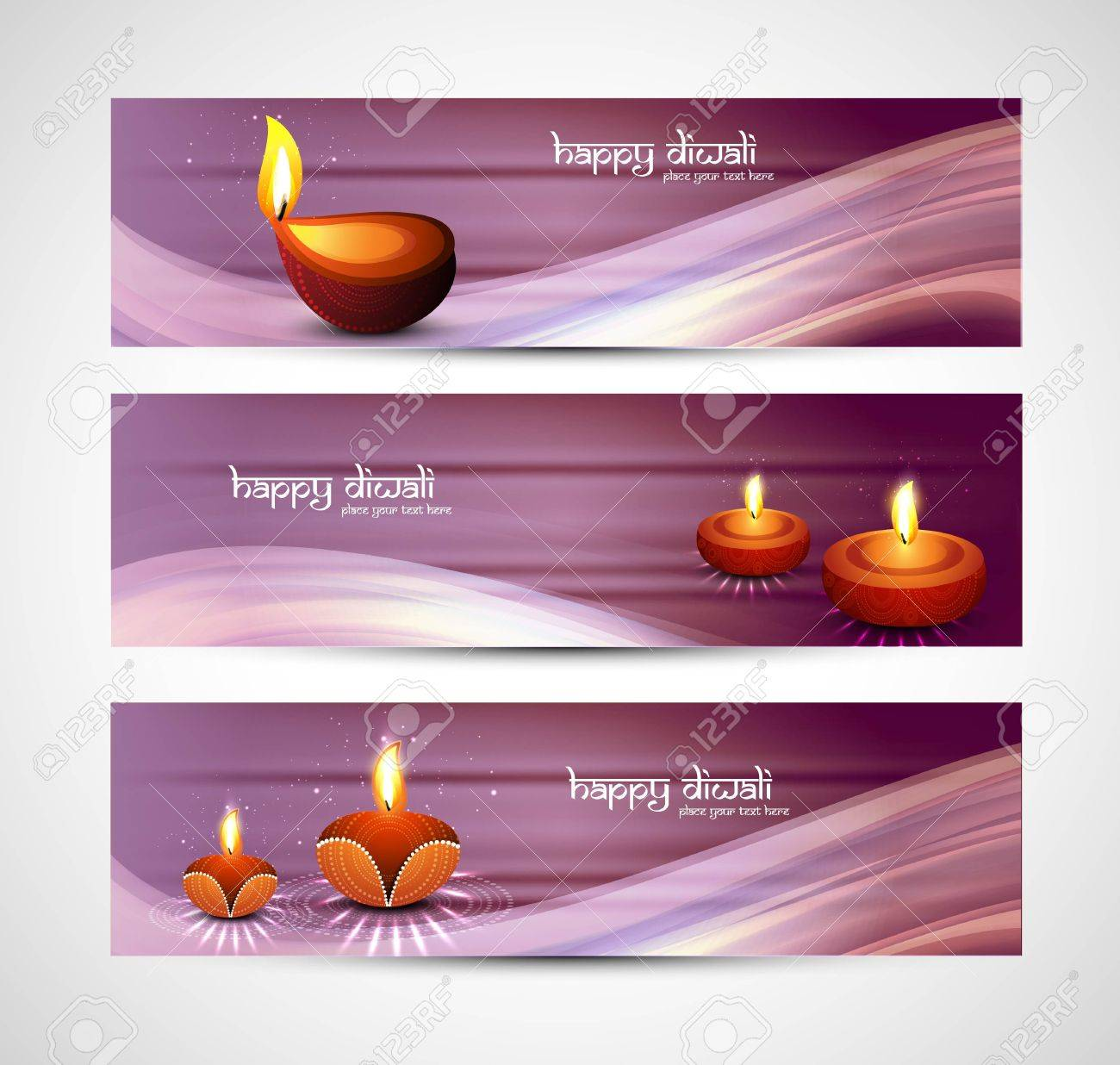 happy diwali stylish colorful set of headers design Stock Vector - 18026022