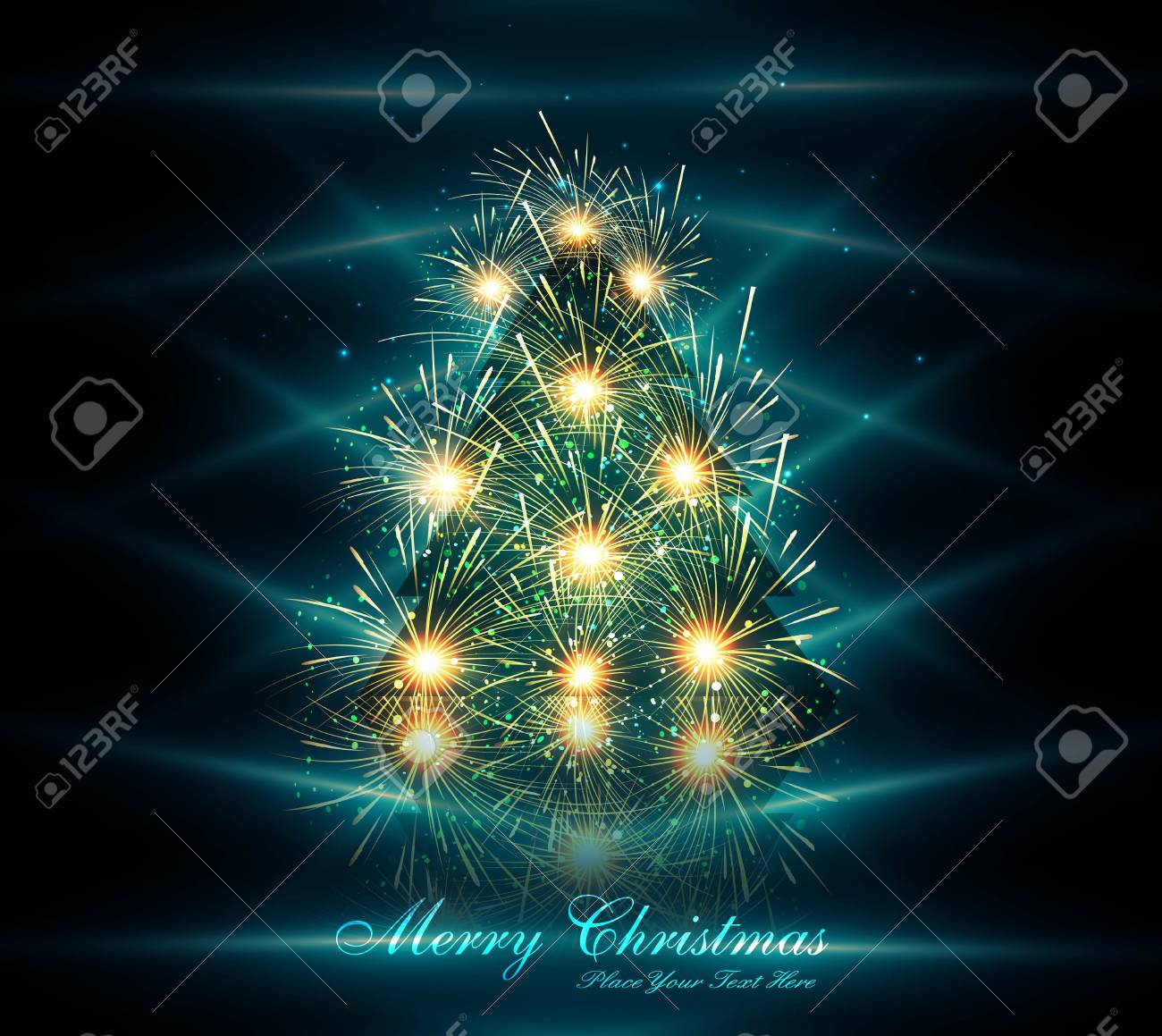merry christmas tree reflection celebration colorful card background Stock Vector - 18026016