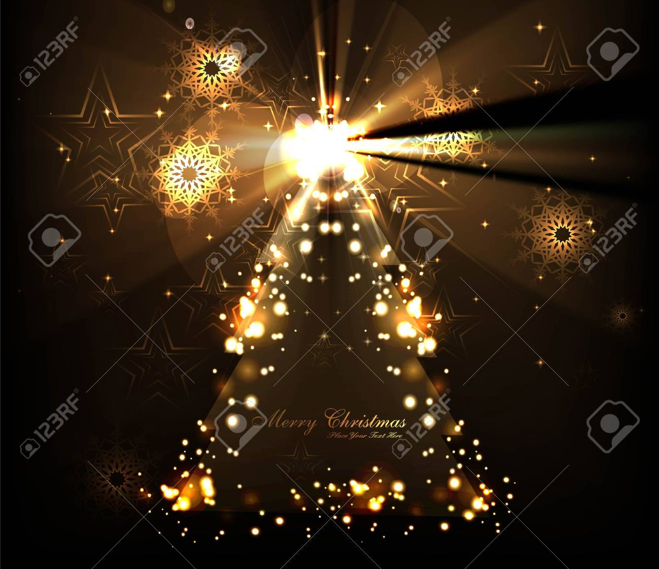 merry christmas tree celebration bright colorful card design vector Stock Vector - 18048964