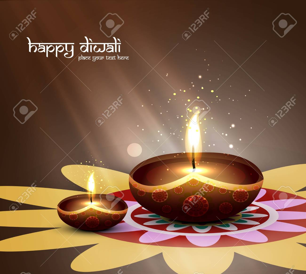happy diwali beautiful card design vector Stock Vector - 18048934