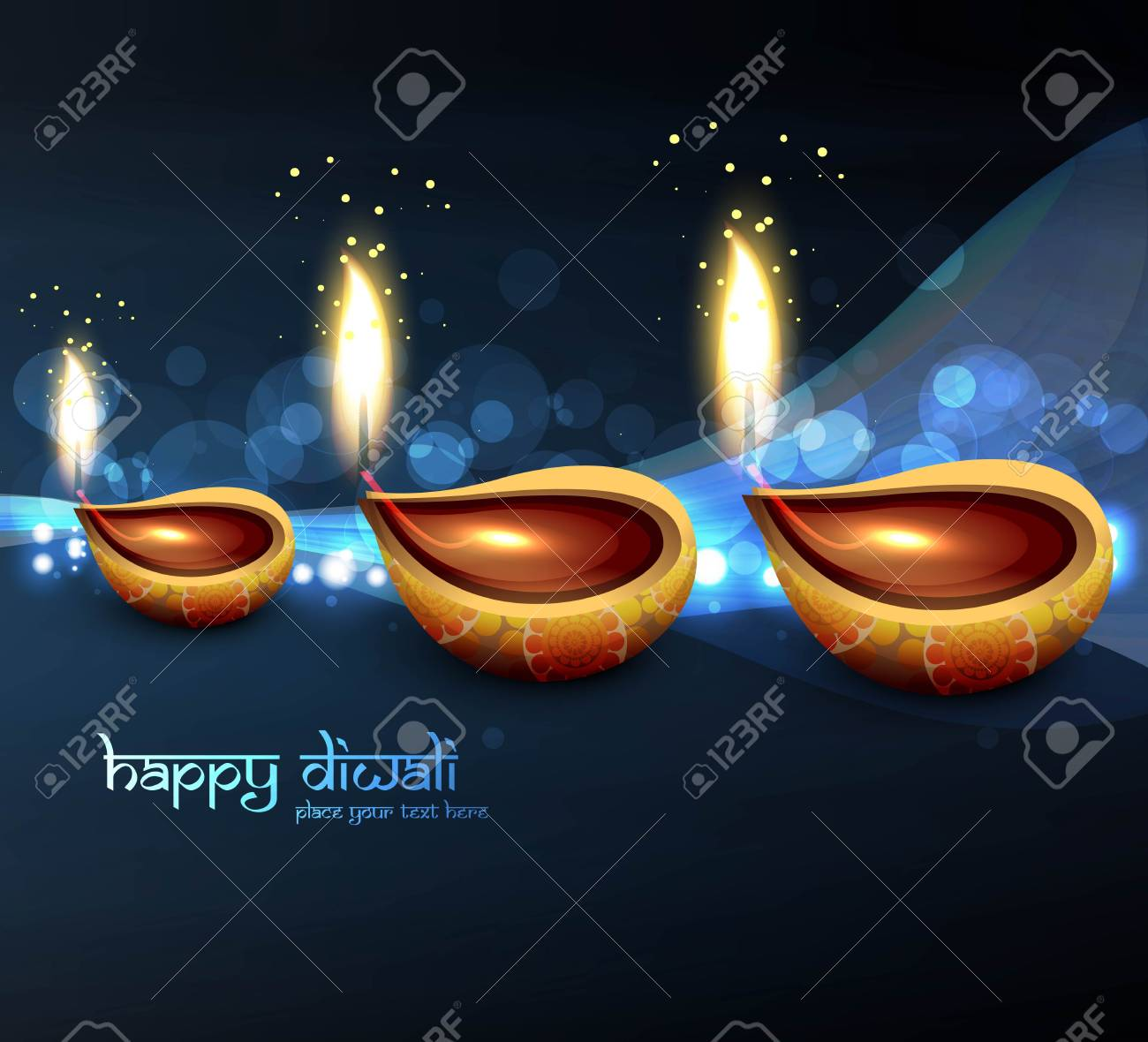 happy diwali blue beautiful card vector design Stock Vector - 18048950