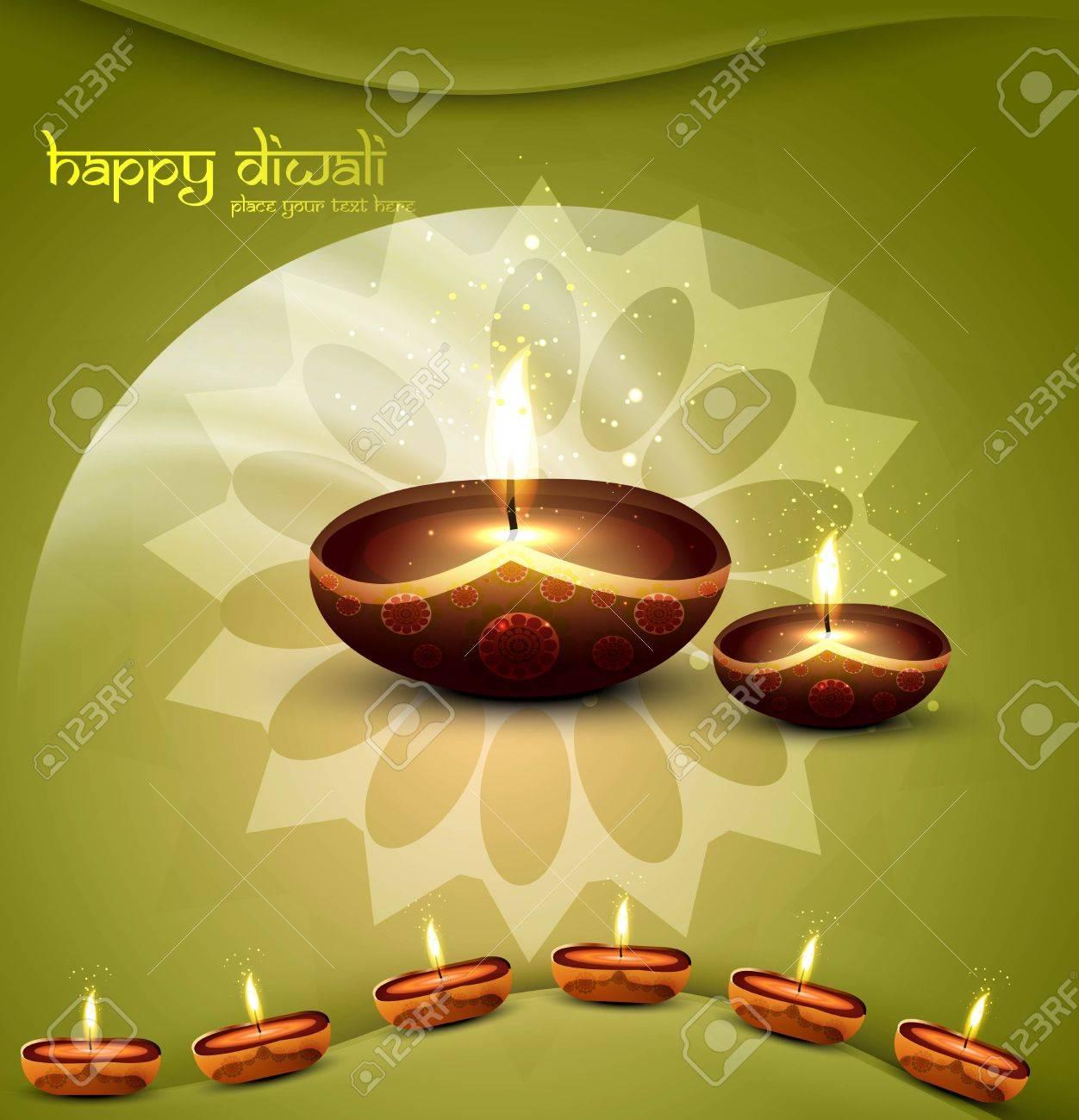 happy diwali green beautiful card vector Stock Vector - 18048957