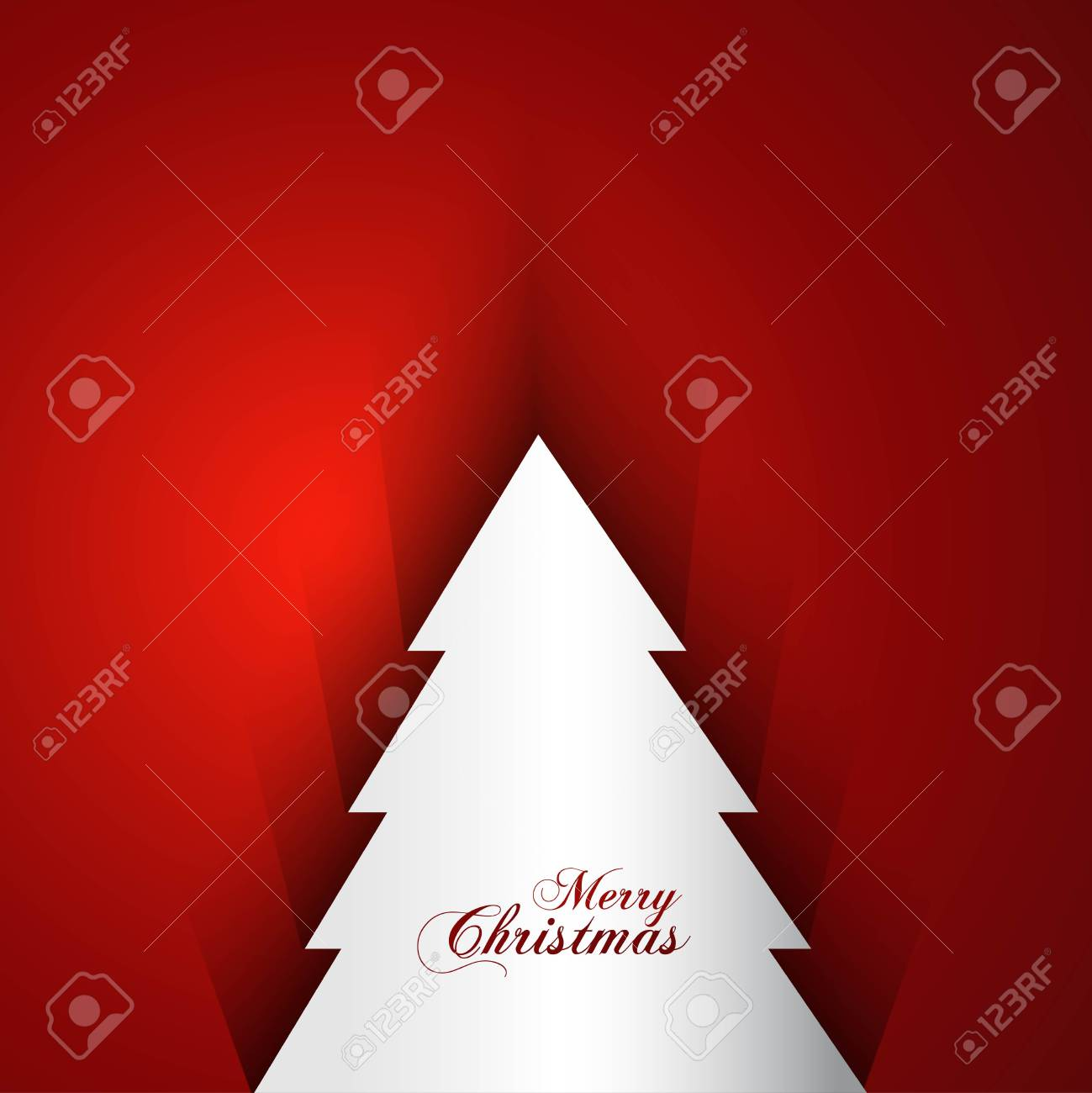 merry christmas tree bright red colorful background card vector Stock Vector - 18153424