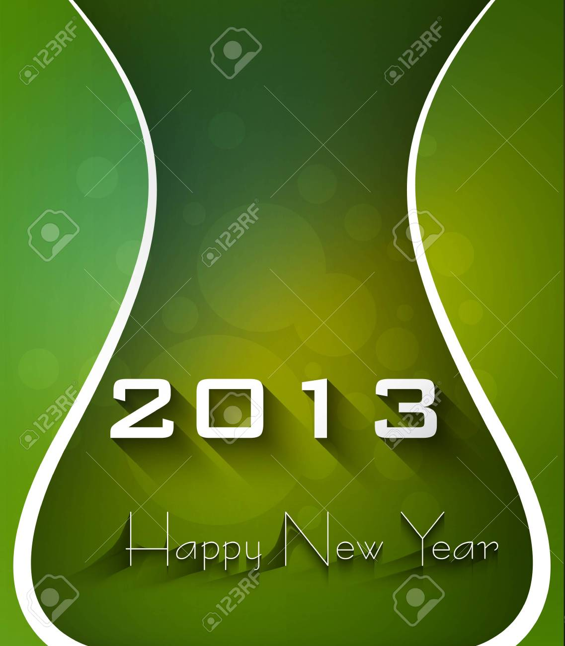 New year shiny stylish 2013 bright green wave colorful vector Stock Vector - 18172883