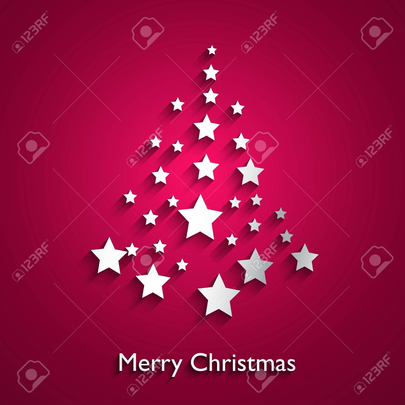 simple merry christmas tree star colorful new year card design vector stock vector 18210627