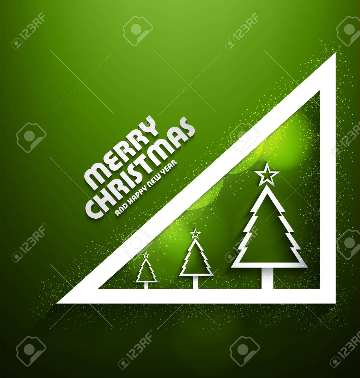 Stylish merry christmas tree star green colorful new year card background vector illustration Stock Vector - 18210649