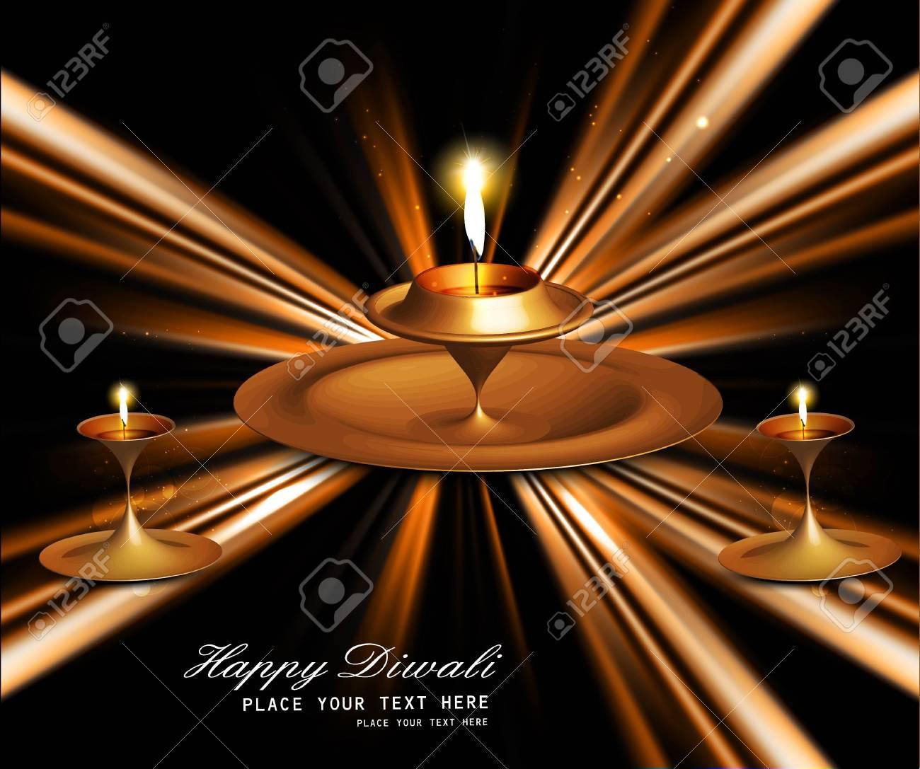 Happy diwali bright beautiful illuminating diya stylish rays wave vector Stock Vector - 18238274