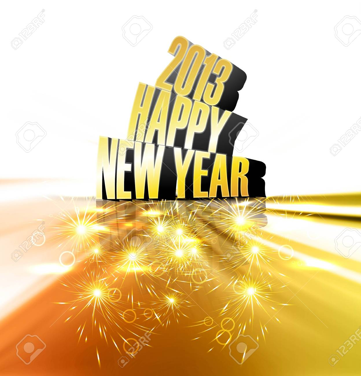 Happy new year 2013 reflection golden colorful shiny design Stock Vector - 18389619