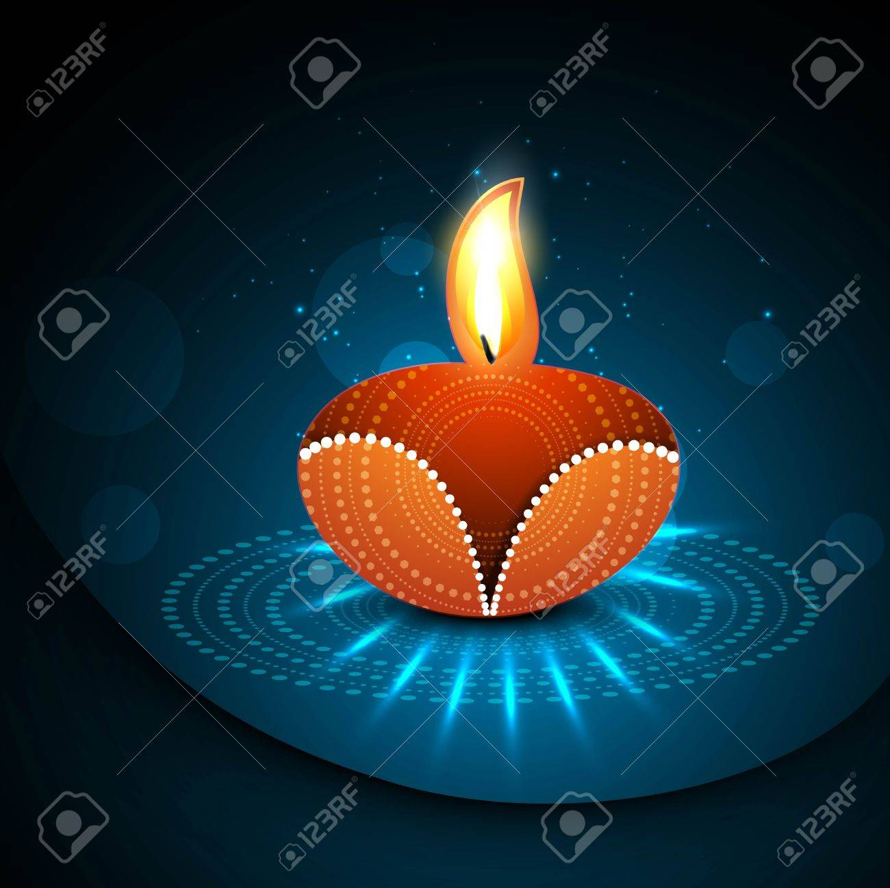 Happy diwali diya celebration shiny colorful hindu festival vector illustration Stock Vector - 18435889
