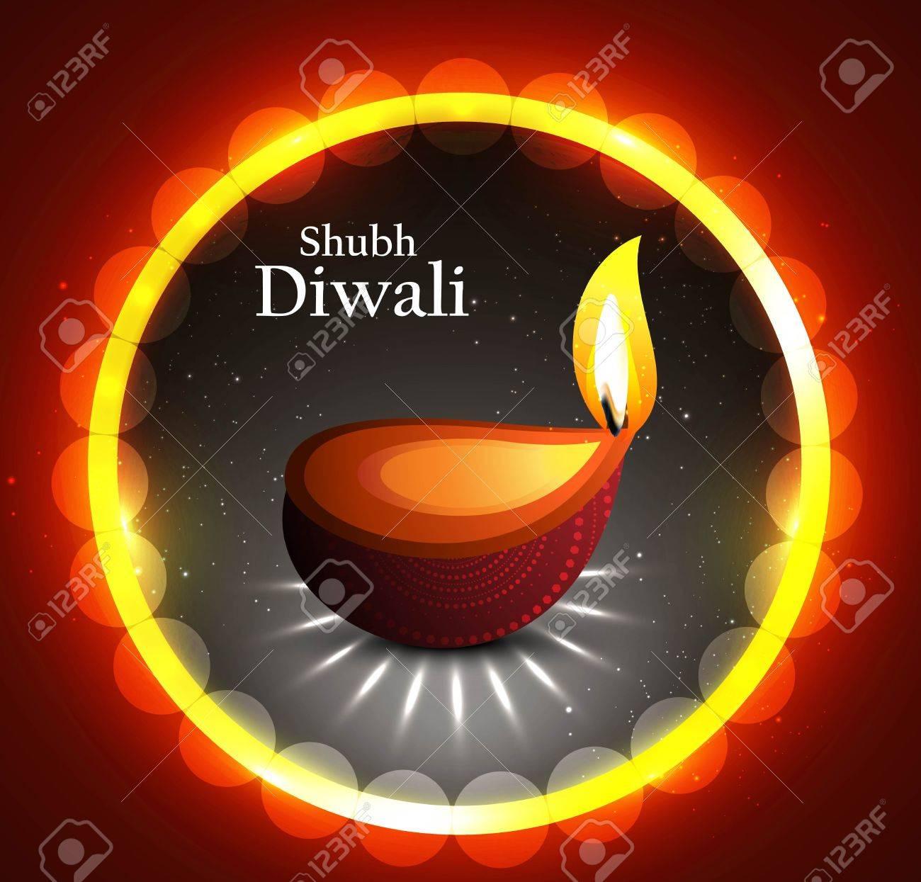 Happy diwali beautiful circle illuminating diya background Stock Vector - 18435890
