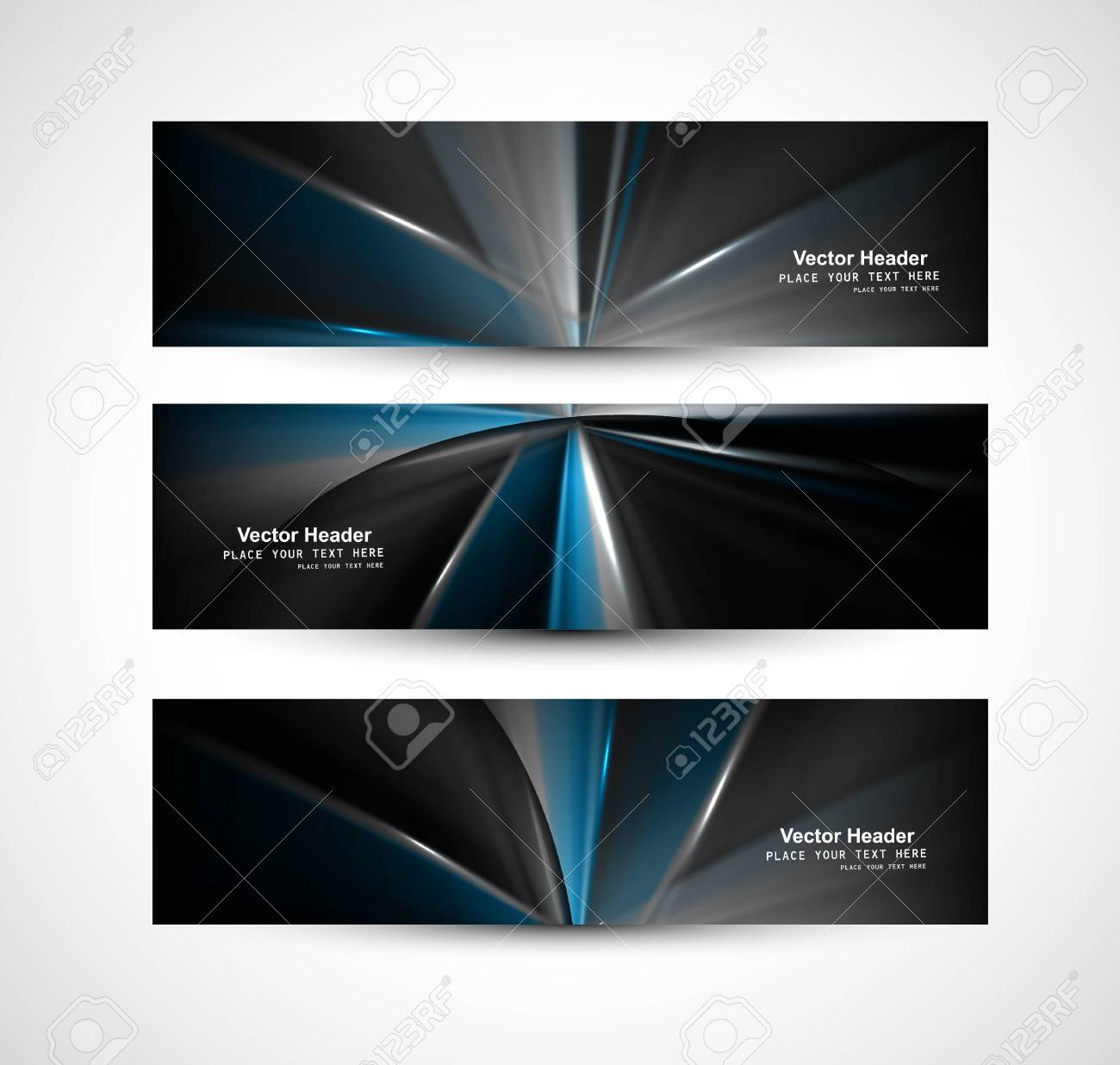 abstract bright rays colorful header set Stock Vector - 18458617