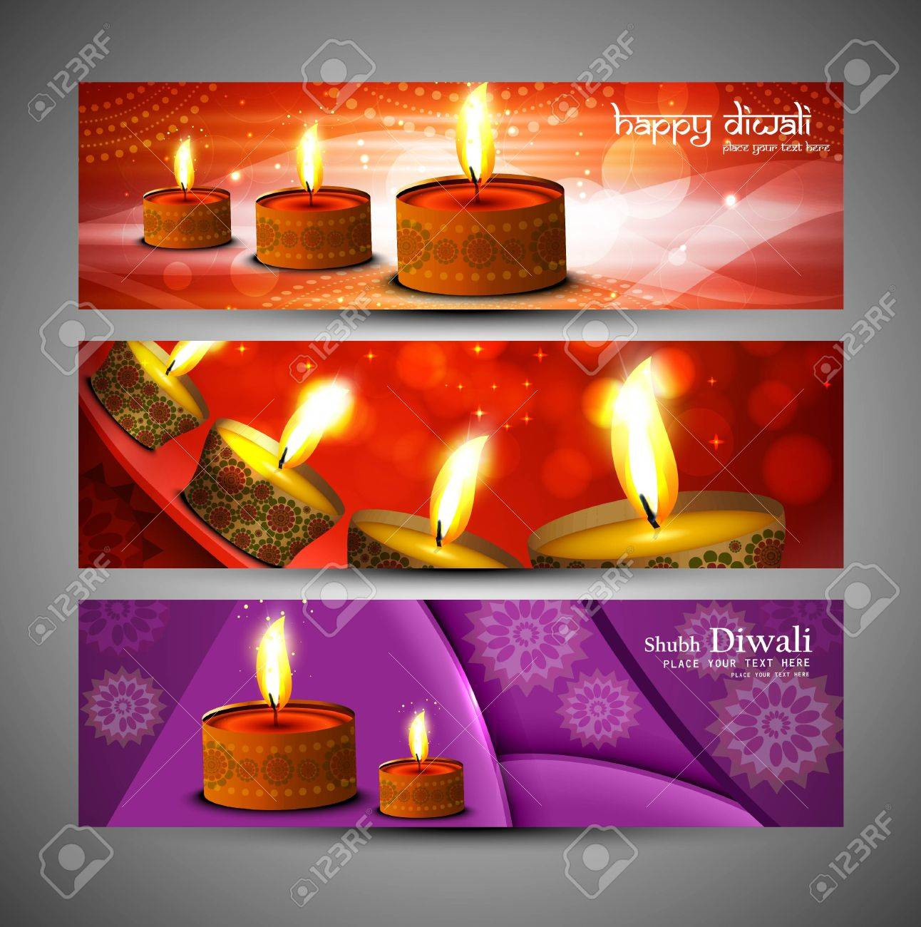 happy diwali stylish bright colorful set of header background vector Stock Vector - 18548427