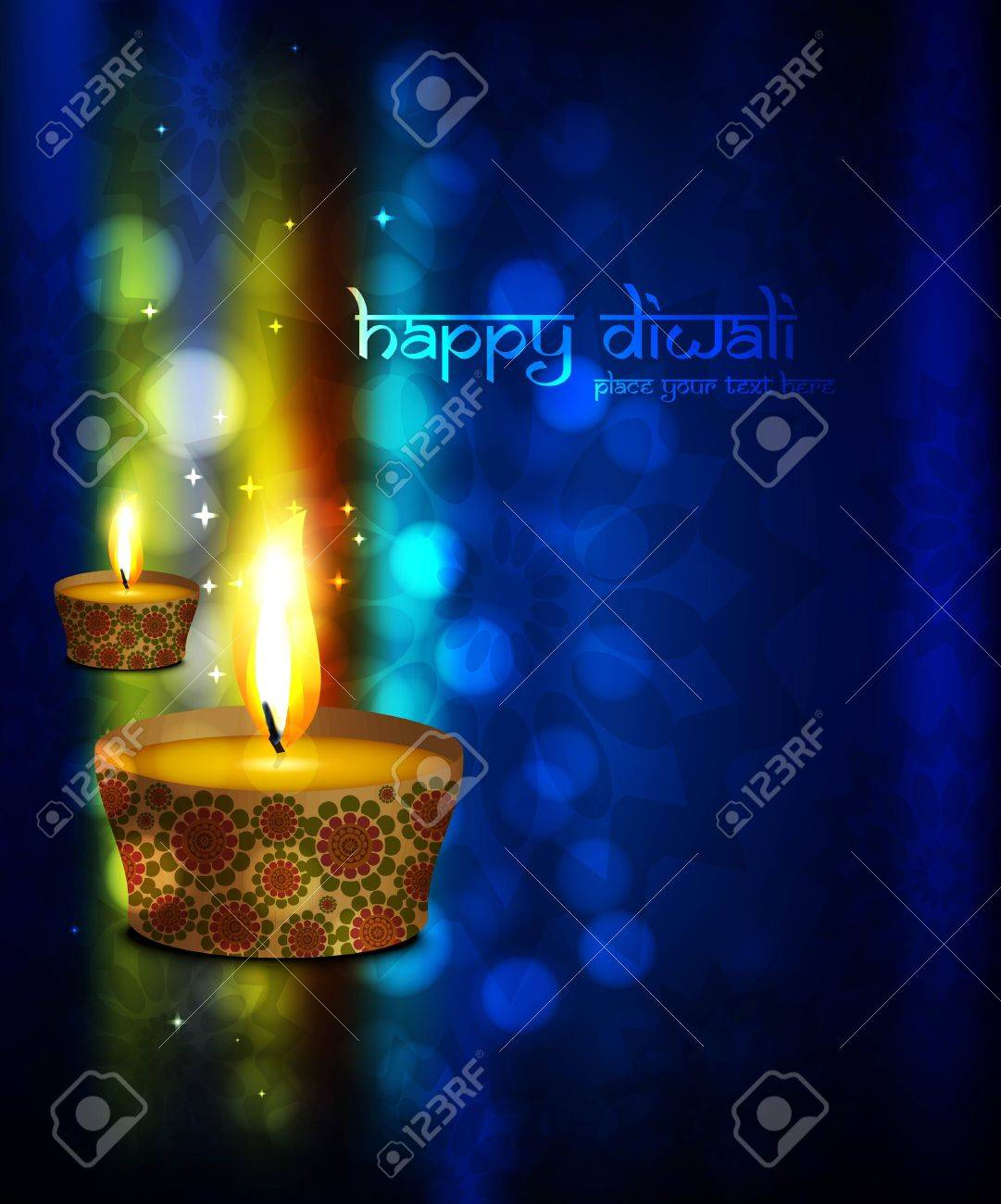 Beautiful Happy Diwali Greeting Card Blue Colorful Vector Background