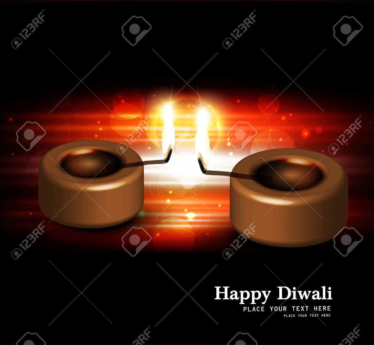 Happy diwali black bright beautiful card diya vector Stock Vector - 18805326