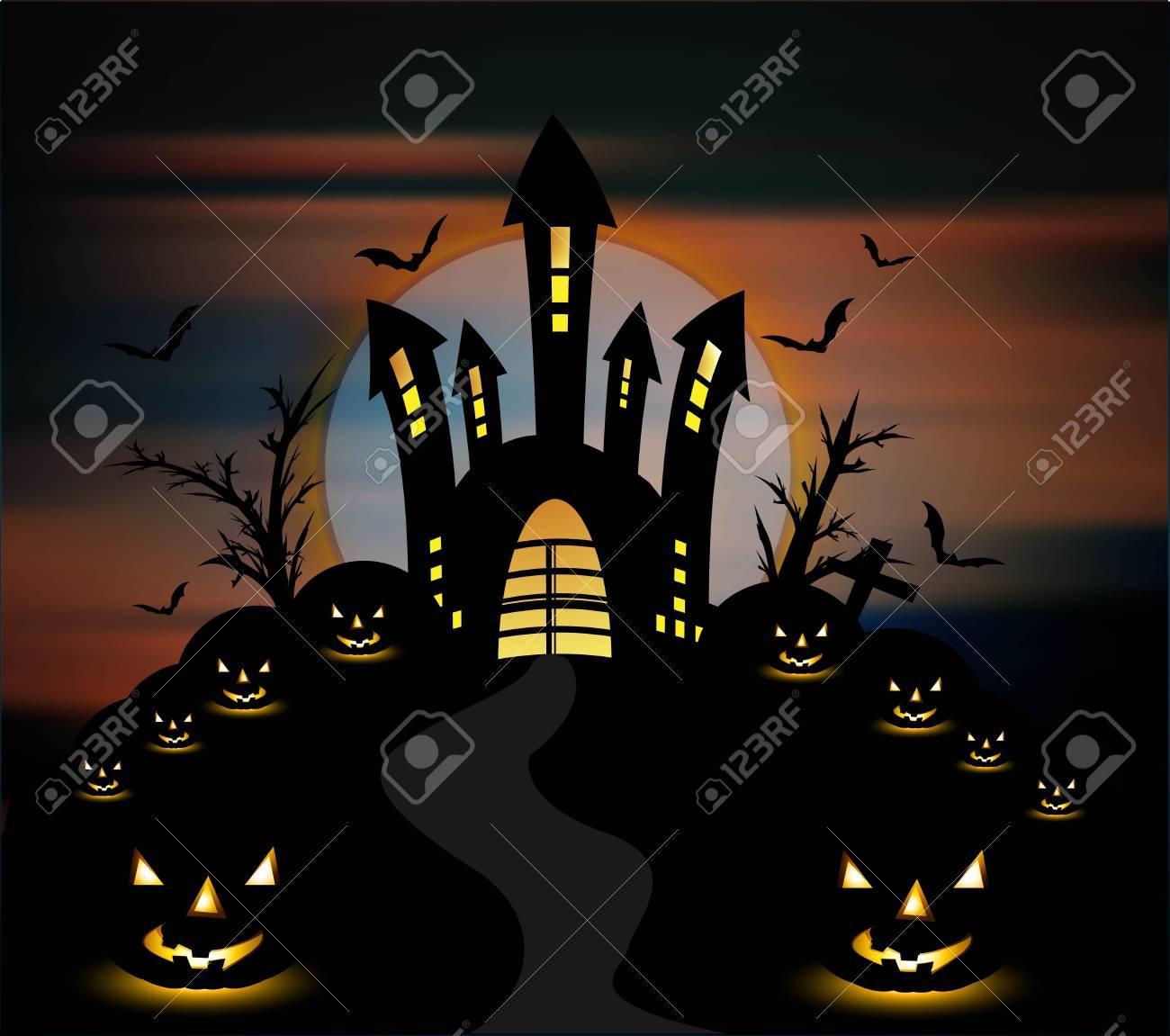 Halloween night with pumpkins party vector background Stock Vector - 18838554