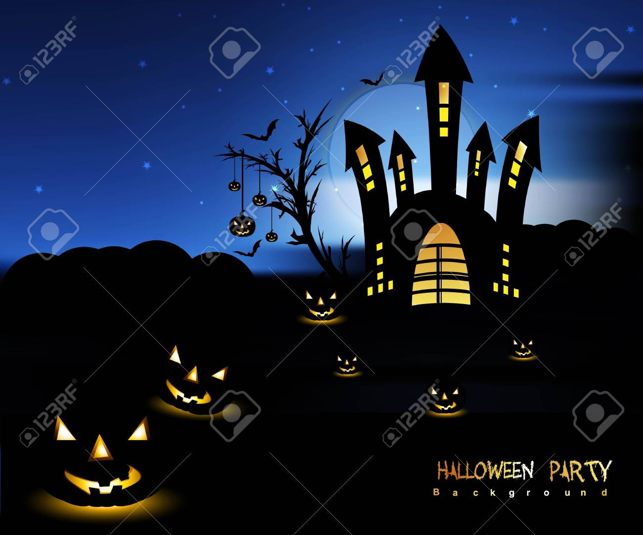 Halloween night blue colorful with pumpkins party vector Stock Vector - 18838579