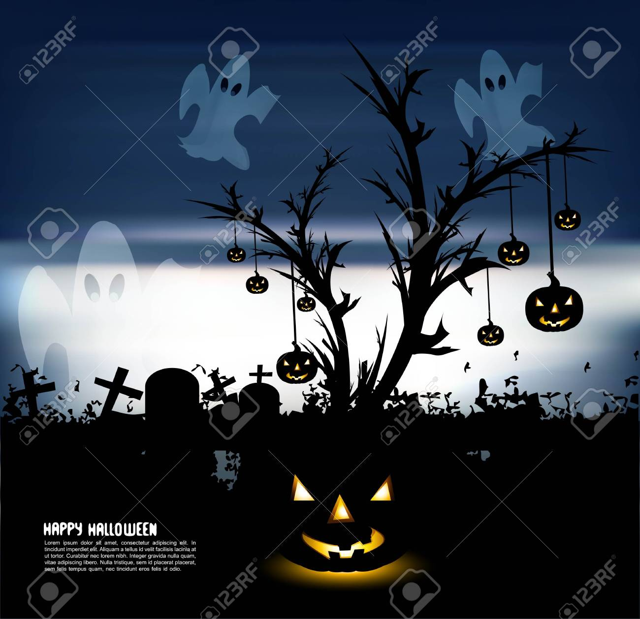 abstract bright dark blue colorful halloween vector Stock Vector - 18838631