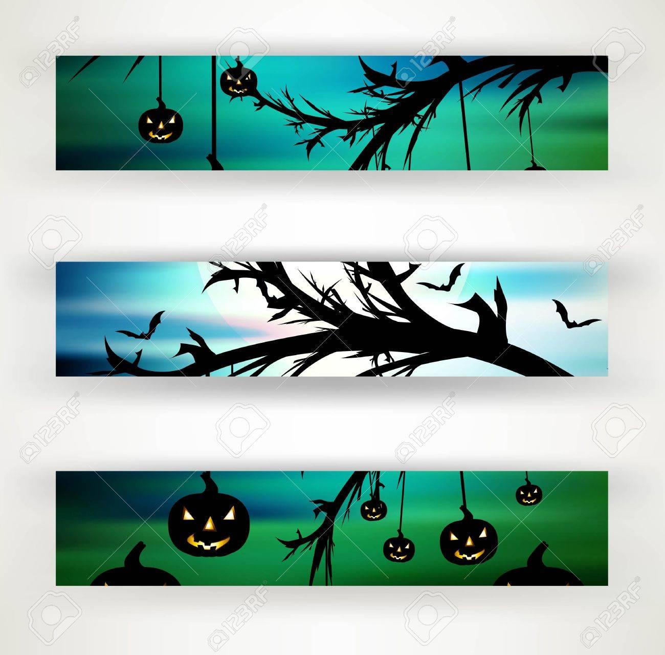 halloween party header set of three vector illustration Stock Vector - 18838654