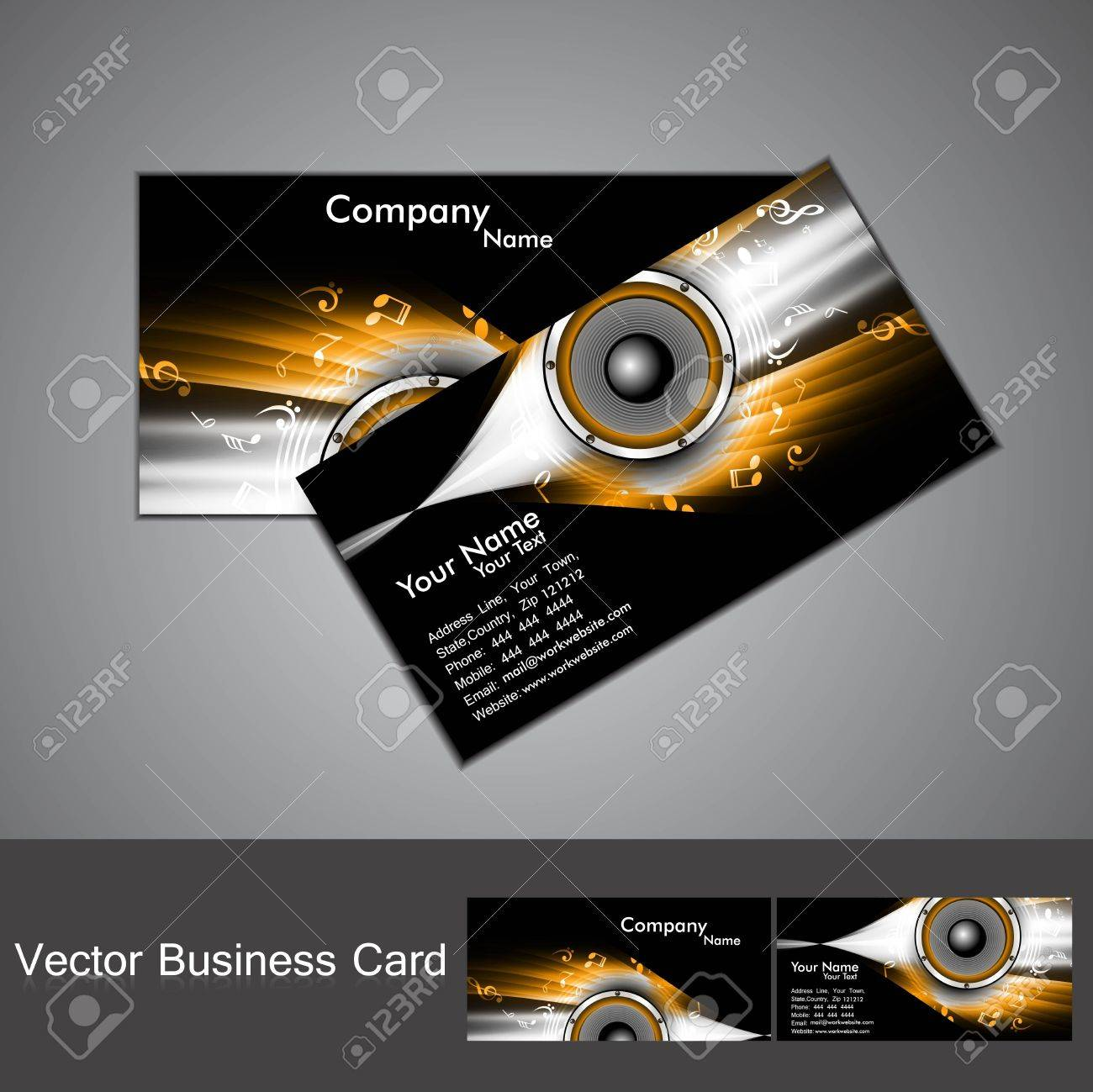 Abstract Stylish Black Bright Colorful Business Card Music Vector ...