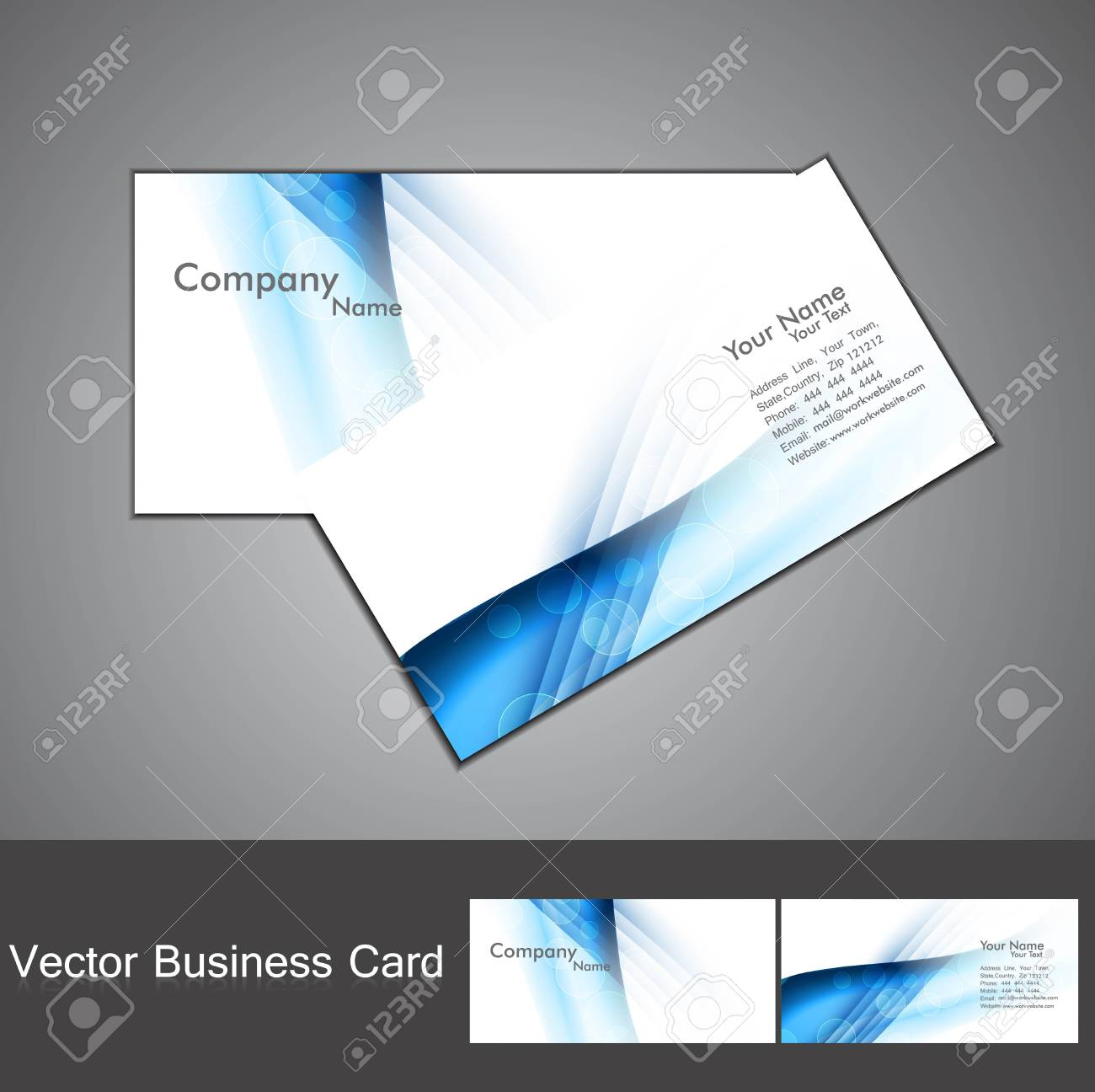 Abstract Blue Colorful Stylish Wave Business Card Set Background ...