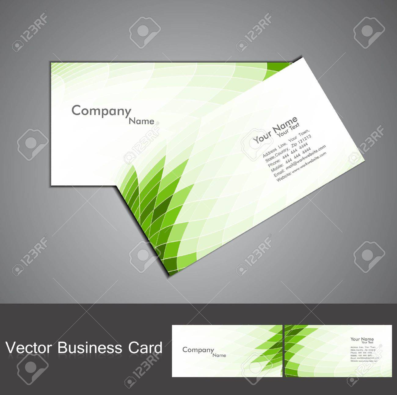 Abstract Green Mosaic Colorful Wave Business Card Set Vector ...