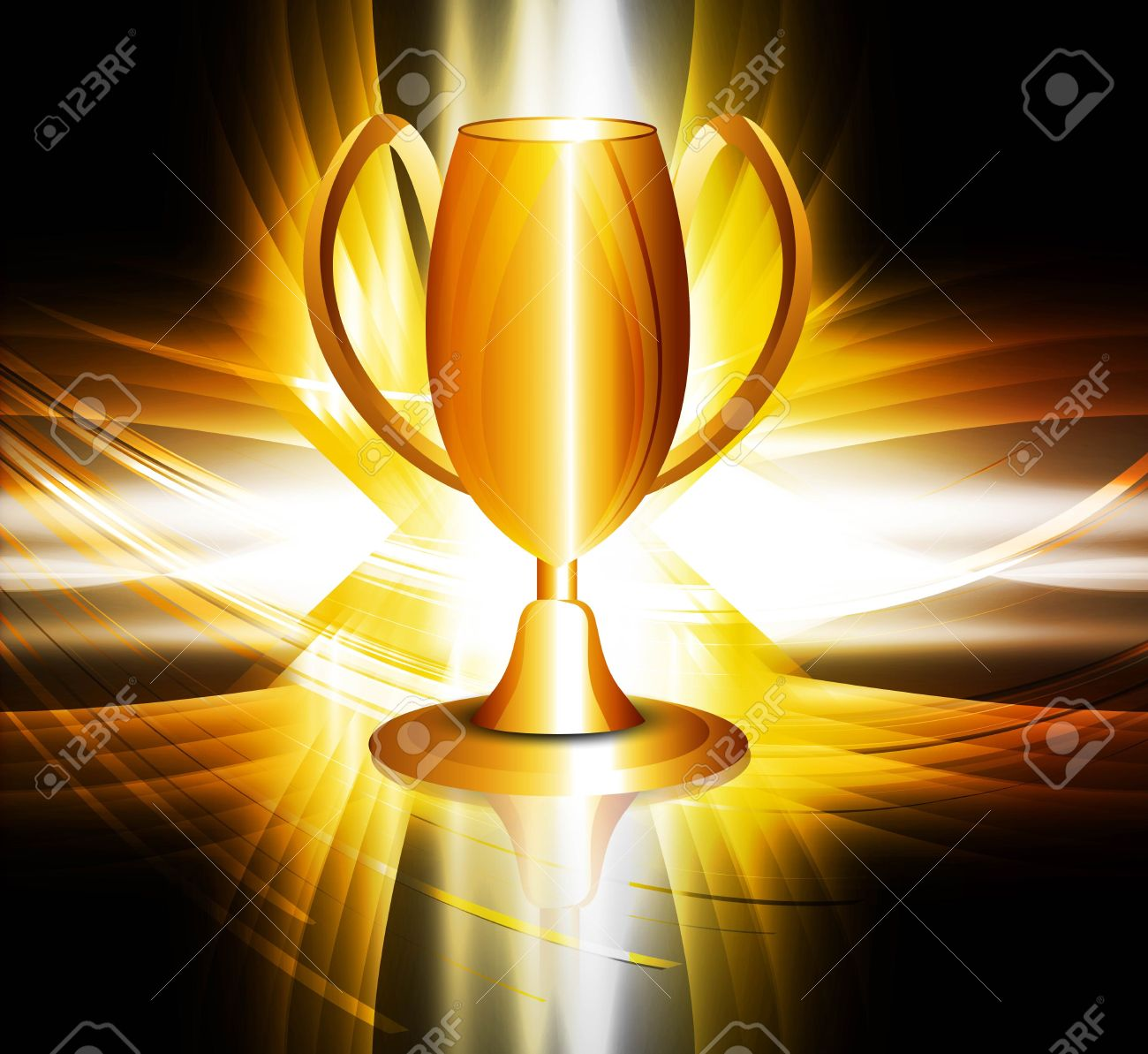 Abstract Shiny Golden Trophy Colorful Vector Design Stock