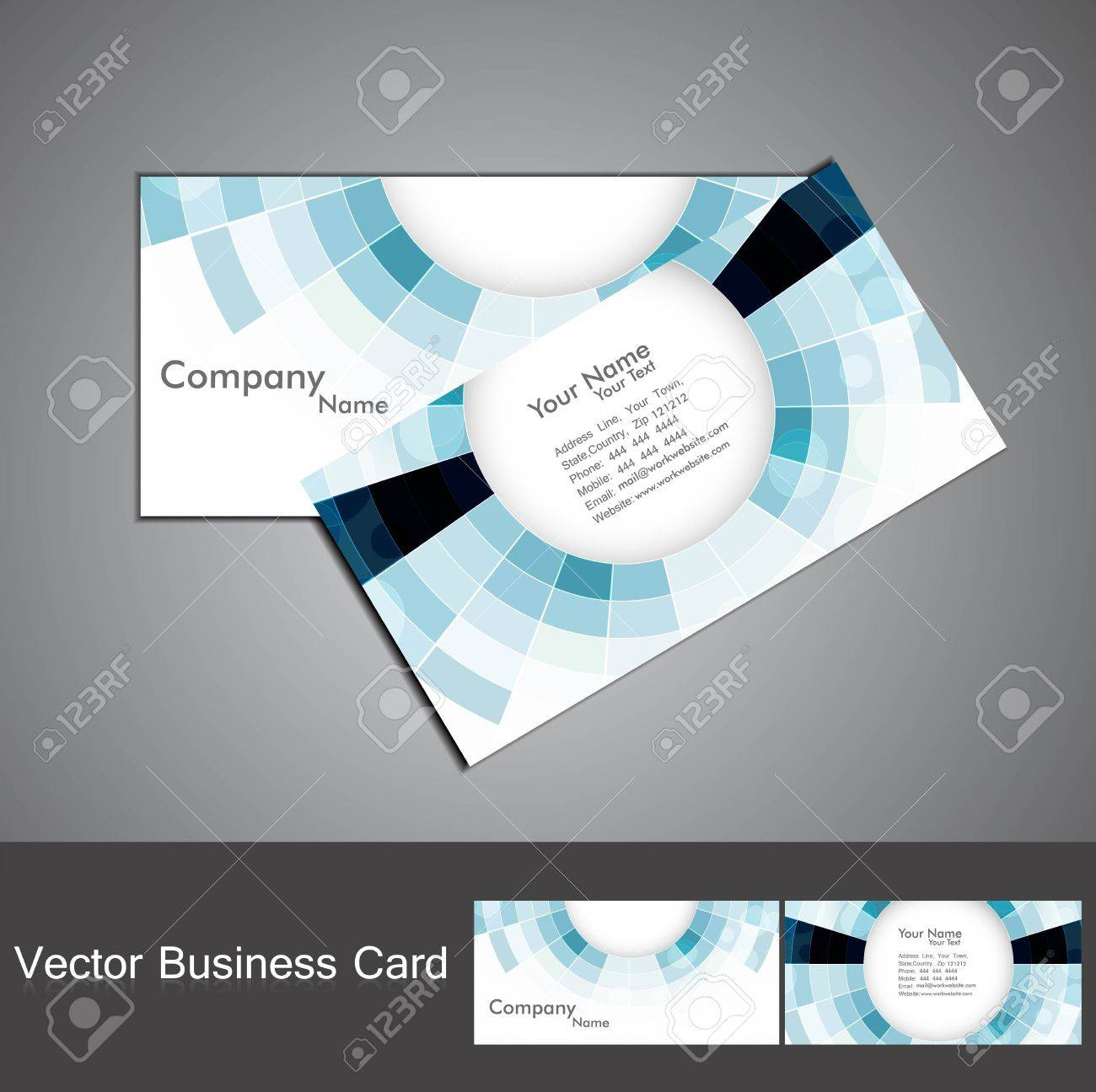 Abstract Blue Colorful Mosaic Circle Business Card Set Vector ...
