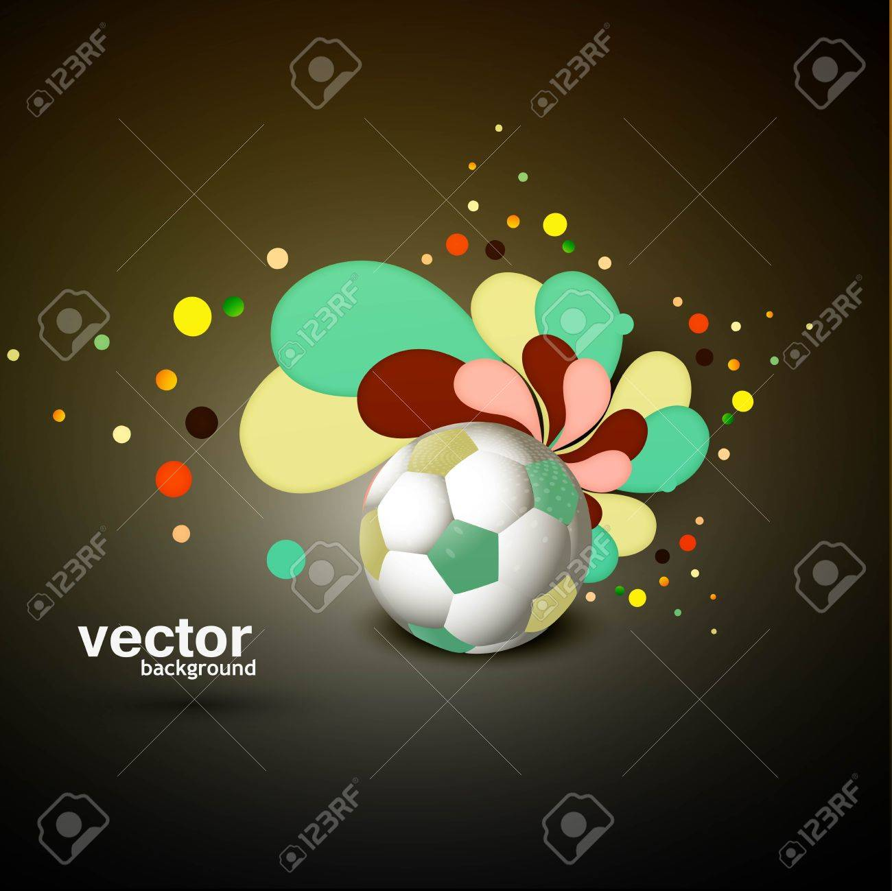 Abstract Football Art Floral Colorful Illustration Vector Background