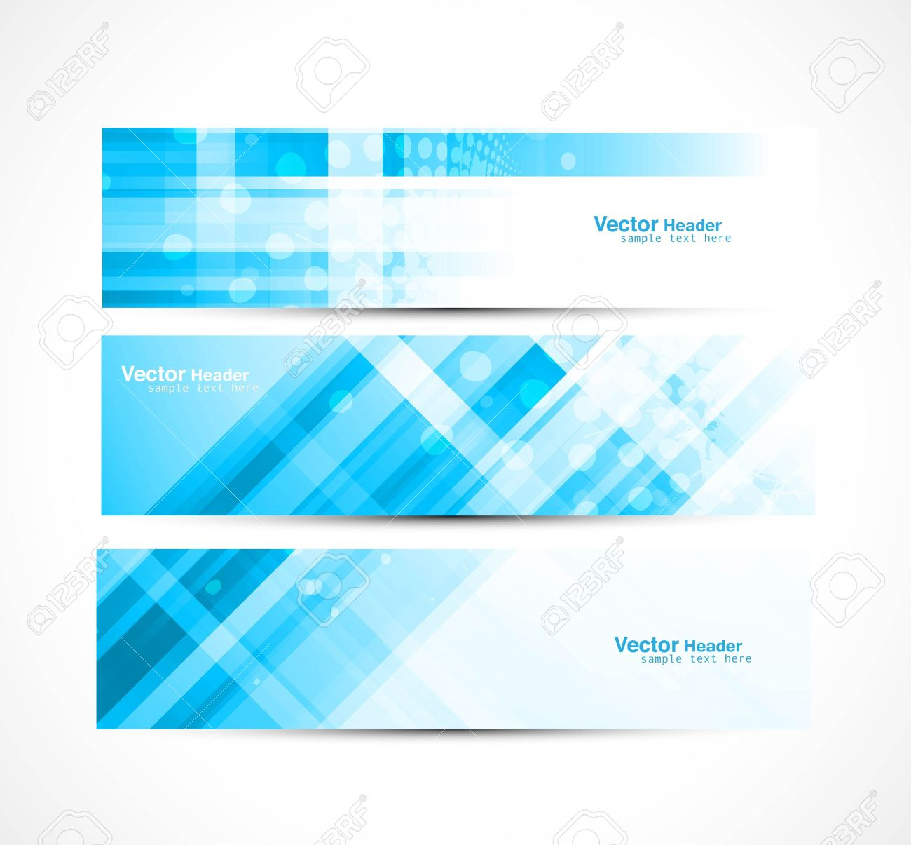 abstract new line wave header set illustration Stock Vector - 20330470