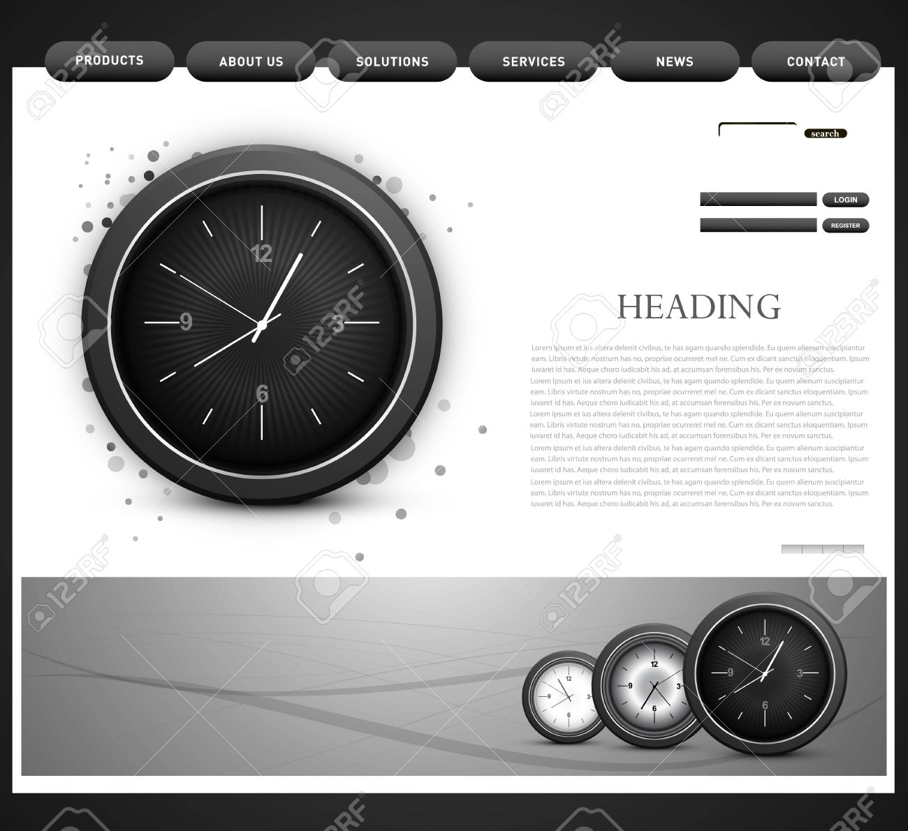 Website Template Presentation Watch Design Royalty Free Cliparts Vectors And Stock Illustration Image 20858807