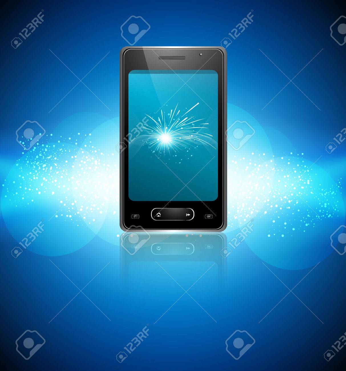 Mobile smartphone original reflection blue colorful background Stock Vector - 22274448