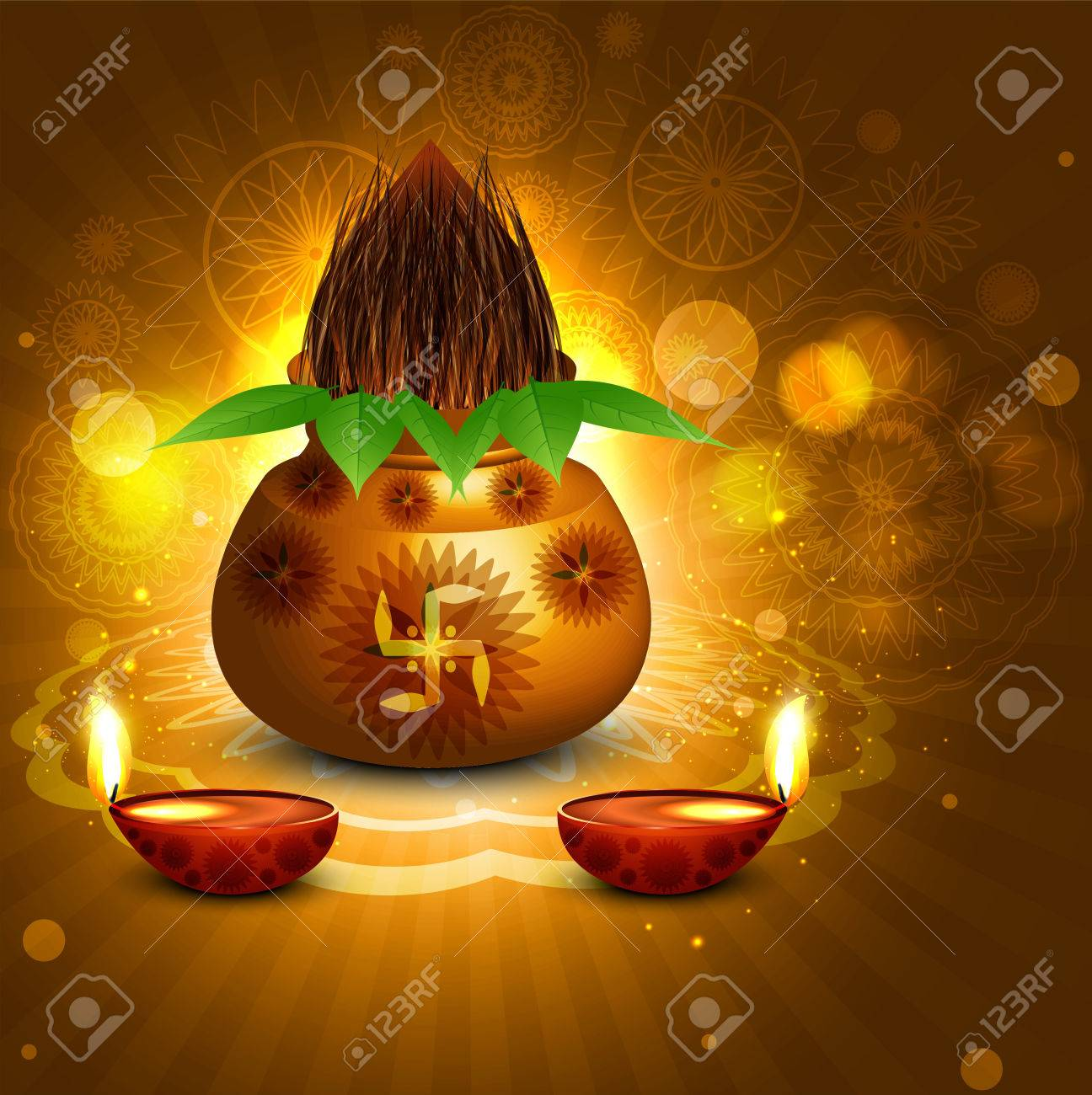 Fantastic diwali pooja kalash diya colorful background vector Stock Vector - 22567778