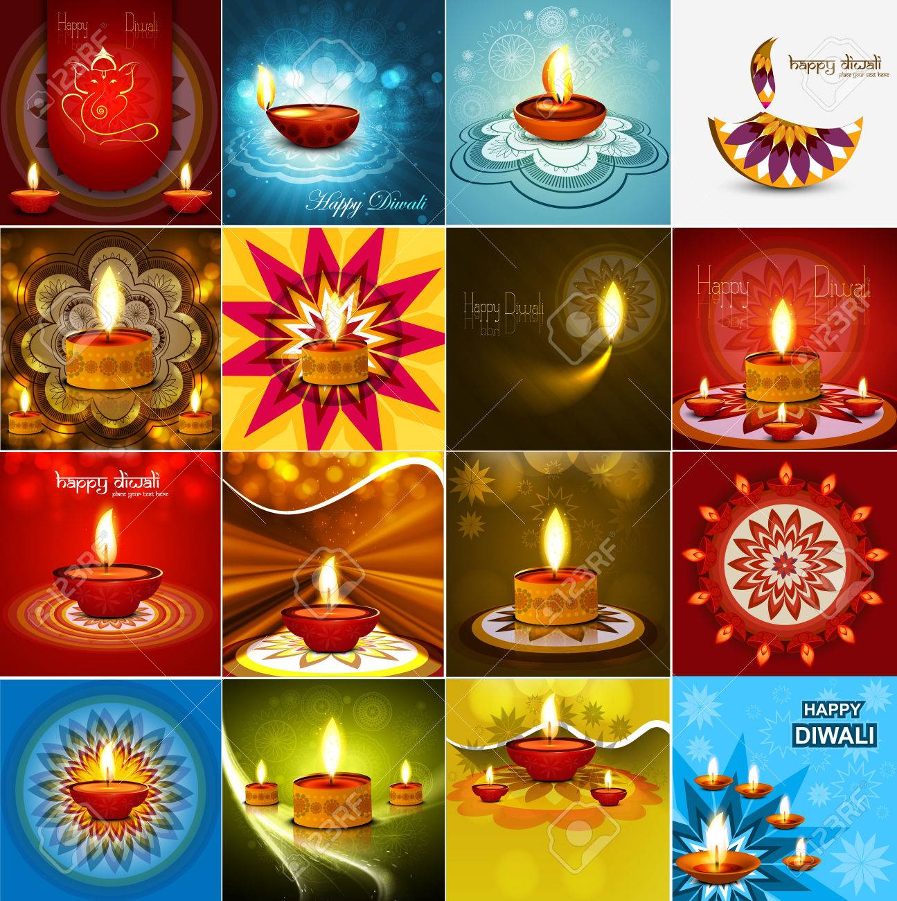 Vector beautiful diwali diya celebration 16 collection card vector Stock Vector - 23088073