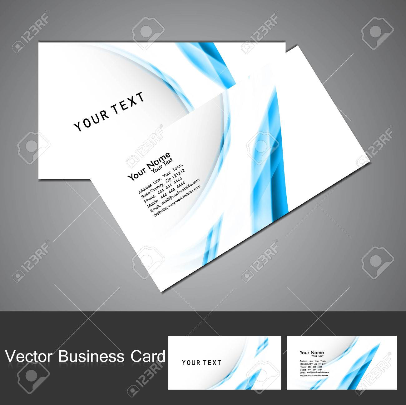 Business Card Professional Blue Wave Template Visiting Card Set ...