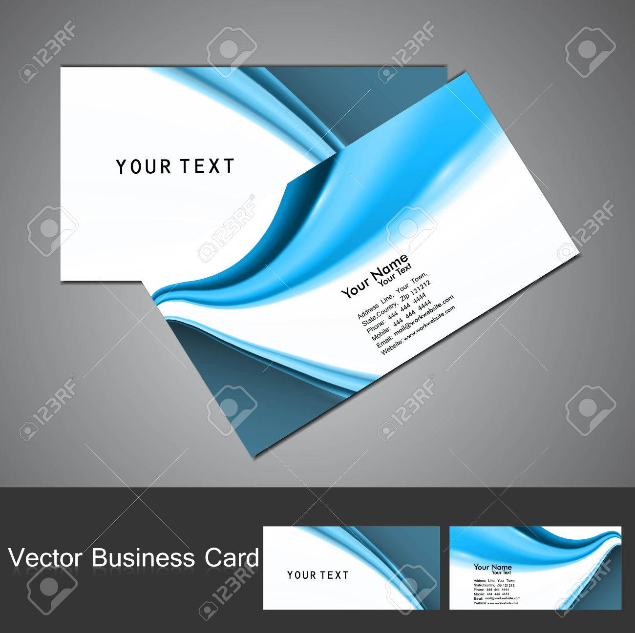 Stylish Blue Colorful Professional Business Card Royalty Free ...
