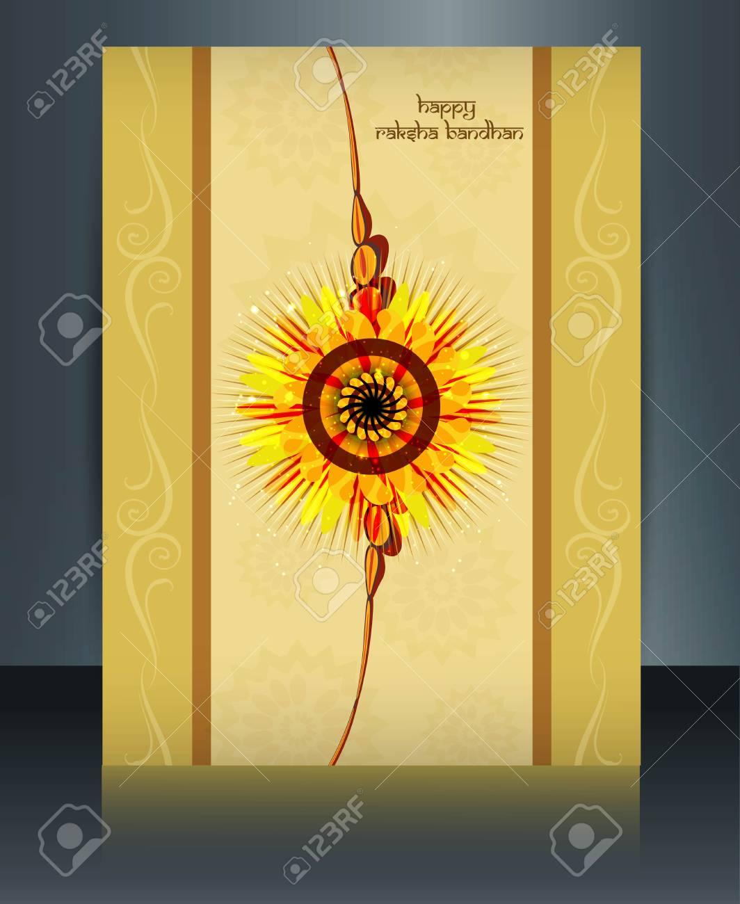 Raksha Bandhan festival  card colorful shiny  brochure reflection template Stock Vector - 23519838