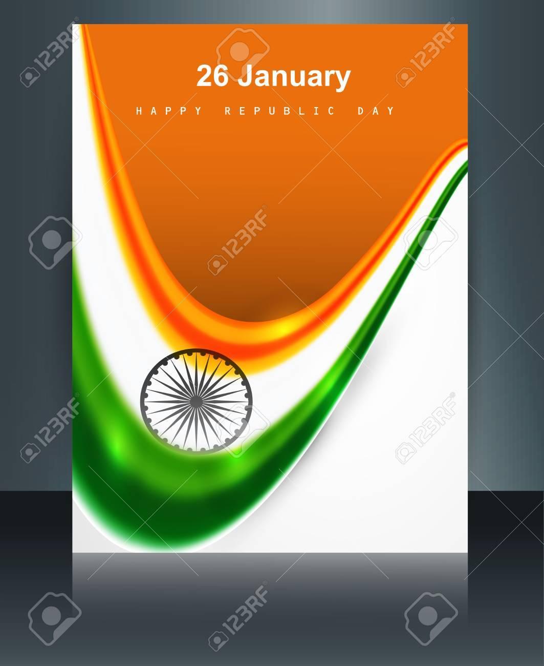 Bandera De La India Folleto Onda Colorida Ilustración Vectorial ...