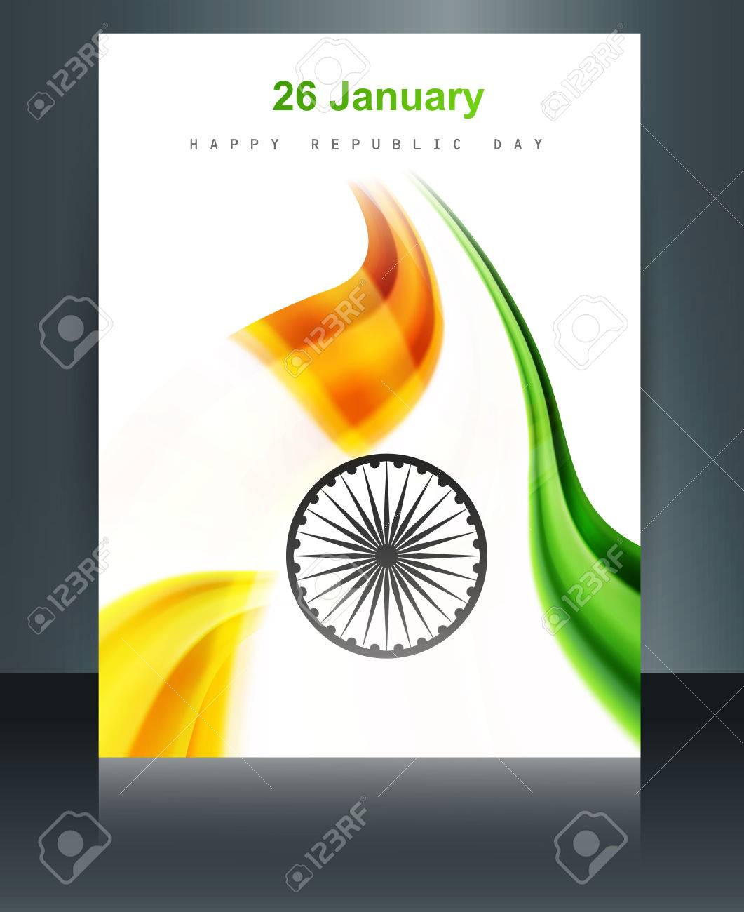 Folleto Bandera India Ilustración Plantilla De Onda Elegante Para El ...